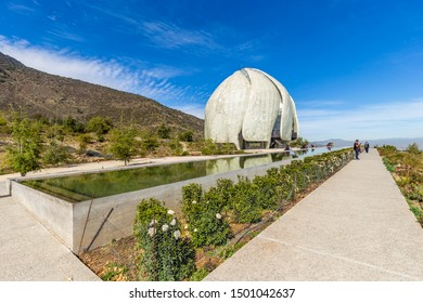 Santiago, Chile - August 20, 2019: People visiting Bahai House of Worship Temple, place of prayer and meditation open to peoples of all backgrounds in Santiago, Chile.