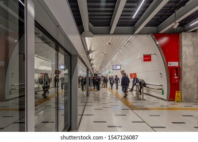 Santiago, Chile - August 21, 2019: View of the new Line 3 in Plaza de Armas. It is located under the Plaza de Armas of Santiago, Chile.