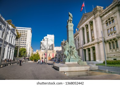 Santiago, Chile - Dec 28, 2018: View of the Palace of Courts of Justice of Santiago de Chile, the capital of Chile, located in Montt-Varas Square . Santiago, Chile.