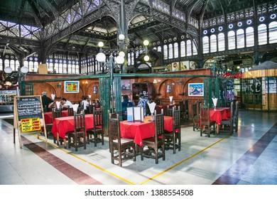 Santiago, Chile - Dec 28, 2018:Interior view of mercado central a famous food and drink traditional market of Santiago de Chile.