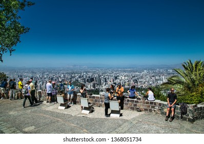 Santiago, Chile - Dec 29, 2018: People at anoramic view on Cerro San Cristobal hill in Santiago, Chile.