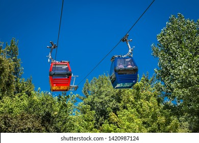 Santiago, Chile - Dec 29, 2018: Cable car in San Cristobal hill overlooking a panoramic view of Santiago de Chile
