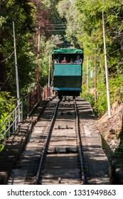 Santiago, Chile, December 17, 2017: Tourists in the Funicular of San Cristobal Hill in Santiago de Chile