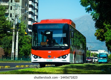 SANTIAGO, CHILE - DECEMBER 2018: One of the new electric buses for the Transantiago - RED transport system
