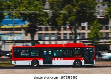 Santiago, Chile - December 2020: A Transantiago bus in Maipú