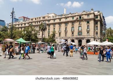 SANTIAGO, CHILE - FEB 28, 2015: People walk at Plaza de las Armas square in Santiago, Chile