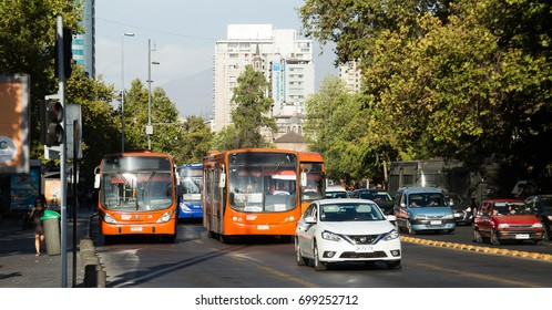 SANTIAGO, CHILE - FEBRUARY 10, 2017: Traffic flow on streets of Santiago. Chile, South America