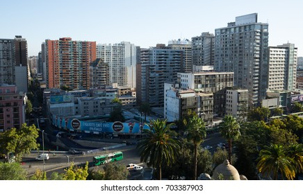 SANTIAGO, CHILE - FEBRUARY 10, 2017: Panoramic view of Chilean capital, city Santiago. Chile, South America
