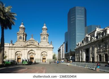 SANTIAGO, CHILE – FEBRUARY 11, 2017:  General view of Plaza de Armas in city center. Santiago, Chile