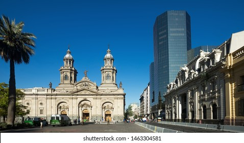 SANTIAGO, CHILE - FEBRUARY 11, 2017: View of Armory Square (Plaza de Armas) in historical center of capital of Chile. Santiago, Chile