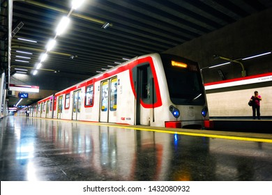 SANTIAGO, CHILE - FEBRUARY 2018: NS07 Metro de Santiago train on Escuela Militar station, L1