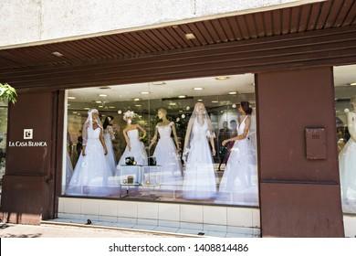 Santiago , Chile - February 2019: Wedding dress salon display window in Santiago downtown Chile