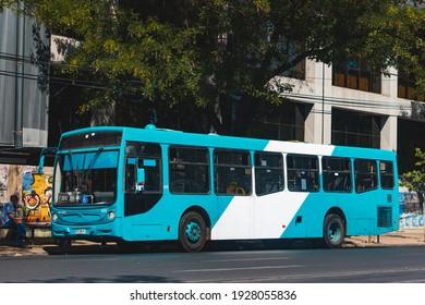 Santiago, Chile -  February 2021: A Transantiago bus in Santiago