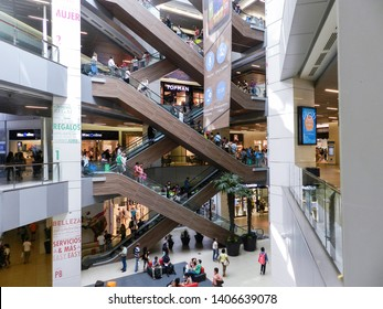 SANTIAGO, CHILE - JANUARY 11, 2015: View of the interior of the Costanera Center, Chile's largest shopping center, with 7 floors and the annexed sky tower.