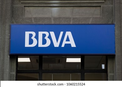 SANTIAGO, CHILE - JANUARY 17, 2018: Detail of BBVA office in Santiago, Chile. BBVA is a multinational Spanish banking group founded at 1999.