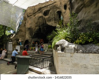 SANTIAGO, CHILE - JANUARY 18, 2015: Grotto of the Lourdes of Basilica of Our Lady of Lourdes, dedicated to the Virgin Mary, located in the Quinta Normal. It is part of the homonymous sanctuary.
