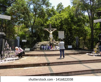 SANTIAGO, CHILE - JANUARY 18, 2015: Image of Christ crucified in the Basilica Our Lady of Lourdes, dedicated to the Virgin Mary, located in the Quinta Normal. It is part of the homonymous Sanctuary.