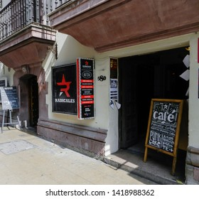 SANTIAGO, CHILE - JANUARY 19, 2015:  Pub Bar The Clinic, located in the neighborhood of Bellas Artes, with decoration based on facts and political satire.