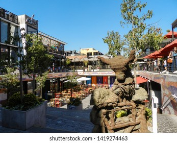 SANTIAGO, CHILE - JANUARY 22, 2015: Patio Bellavista, meeting place where gastronomy, culture, art, design, clothing and crafts converge, in a safe, entertaining and at very attractive prices.