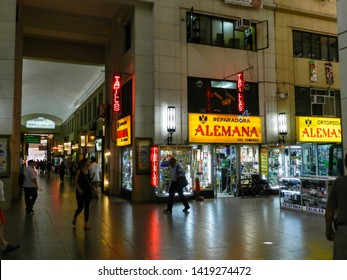 SANTIAGO, CHILE - JANUARY 22, 2015:  Pasaje Agustin Edwards, one of the most beautiful shopping arcades in downtown Santiago, built in 1947.