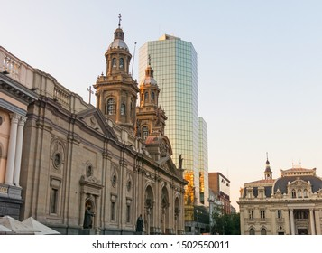 SANTIAGO, CHILE - JANUARY 22, 2018: Metropolitan Cathedral of Santiago, in the Armas square. It is the main temple of the Catholic Church in the country, built between 1748-1800. Santiago de Chile