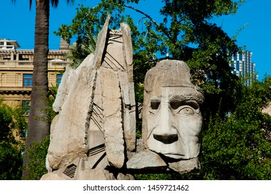 SANTIAGO, CHILE - January 24, 2015: Monument to the Indigenous People in the Plaza de Armas