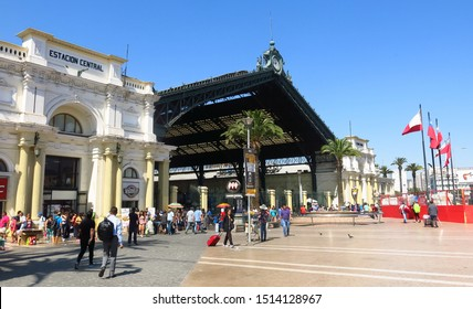 Santiago, Chile - January, 24: Exterior view of the central station of Santiago de Chile, located on Alameda Avenue. This station is the main one of the city.