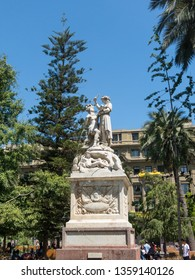 SANTIAGO CHILE - JANUARY 26, 2018: Monument to the American Liberty, marble sculpture located in the center of the Plaza de Armas in Santiago, Chile. Work of Francesco Orselino, was installed in 1836