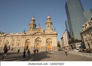 Santiago, Chile - January 7,2017 : Unidentified tourist walk around Plaza de Armas in Santiago in the morning.