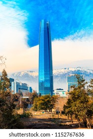 Santiago, Chile - July 14, 2018: View of the Sky Costanera Center, with modern office buildings and the Andes Cordillera, in the financial district in Las Condes.
