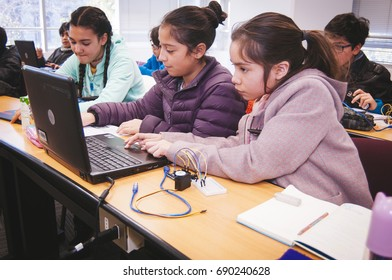 Santiago, Chile. July 21, 2017. Young unknown students in robotic laboratory