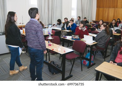 Santiago, Chile. July 21, 2017. Group of small teachers in training activities.