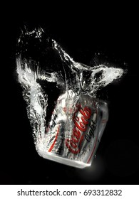 Santiago, Chile - July 5, 2007: Coca Cola falling in the water