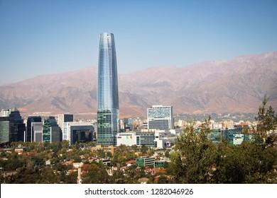 Santiago, Chile - Mar 13, 2018: Costanera Skyscraper and Costanera Center Shopping Mall - Santiago, Chile