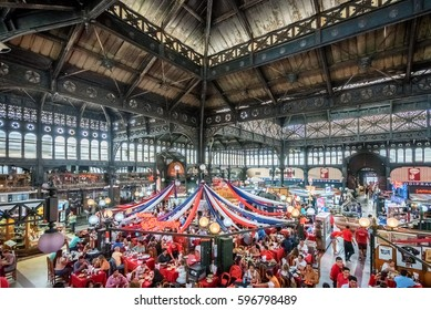 SANTIAGO, CHILE - MAR 5: Interior of Mercado Central in Santiago, Chile on March 5, 2017. The famous market is known for tourist dining and local shopping as well as its wrought iron construction.