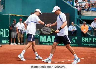SANTIAGO, CHILE - MAR 5: The USA couple, Bob and Mike Bryan playing in the match against Chile during the third match valid for the Davis Cup. March 5, 2011 in Santiago Chile.