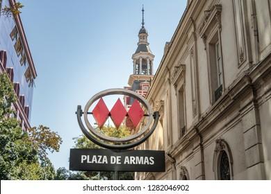 Santiago, Chile - Mar 6, 2018: Plaza de Armas Metro Sign - Santiago, Chile