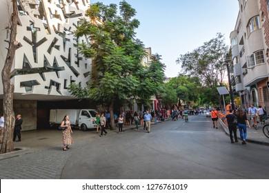 Santiago, Chile - Mar 8, 2018: Lastarria neighborhood - Santiago, Chile