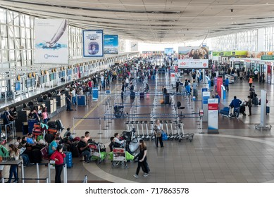 SANTIAGO, CHILE - MAR 8: Interior of Santiago de Chile's Arturo Merino Benitez International Airport on March 8, 2017.  The name honors the founder of the Chilean Air Force.