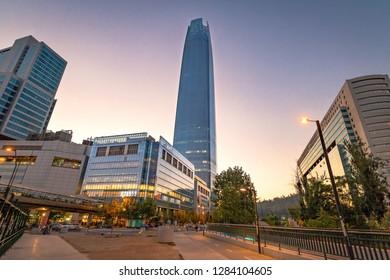 Santiago, Chile - Mar 9, 2018: Costanera Center skyscraper at Sunset -  Santiago, Chile