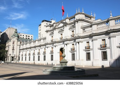 SANTIAGO, CHILE - MARCH 26, 2017: La Moneda Palace, seat of the President of the Republic of Chile, in Santiago, Chile