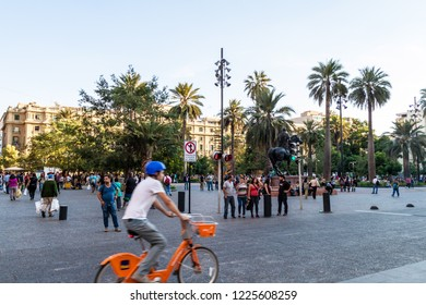 SANTIAGO, CHILE - MARCH 27, 2015: People walk at Plaza de las Armas square in Santiago, Chile