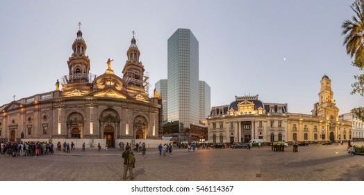 SANTIAGO, CHILE - MARCH 27, 2015: Panorama of Plaza de Armas square in Santiago, Chile
