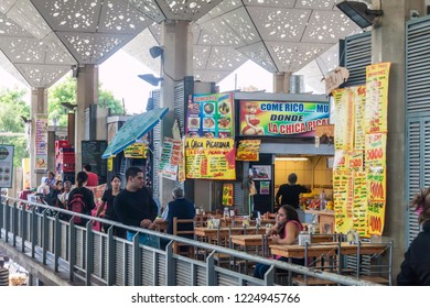 SANTIAGO, CHILE - MARCH 28, 2015: Eateries at a market in Bellavista neighborhood of Santiago, Chile
