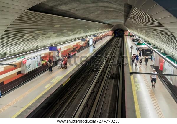 SANTIAGO, CHILE - MARCH 28, 2015: View of a metro station in Santiago de Chile