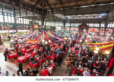 SANTIAGO, CHILE - MAY 26: Activity inside the Central Market in Santiago, Chile on May 26, 2014