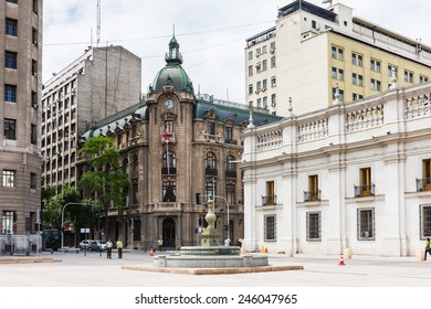 SANTIAGO, CHILE - NOV 1, 2014: Santiago Stock Exchange building in Santiago de Chile. Santiago de Chile is the capital and the largest city in Chile