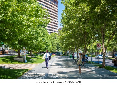 SANTIAGO, CHILE - NOVEMBER 11, 2016: People walking in Barrio Nueva Las Condes. This is a new commercial and business center.