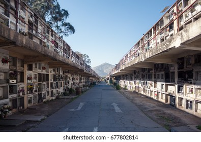 SANTIAGO, CHILE - NOVEMBER 11, 2016: Columbarium at Santiago General Cemetery (Cementerio General de Santiago). This is one of the largest cemeteries in Latin America, was established in 1821.
