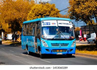 SANTIAGO, CHILE - NOVEMBER 2014: A Metrobus in Puente Alto